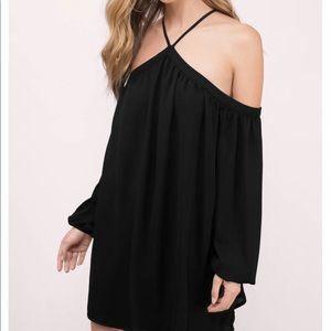 A black chiffon dress